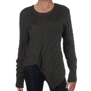 AQUA Asymmetric Cable Knit Long Sleeve Sweater